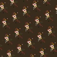 brunt blommönster med prickar