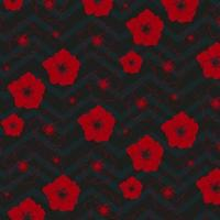 red flowers pattern with chevron design