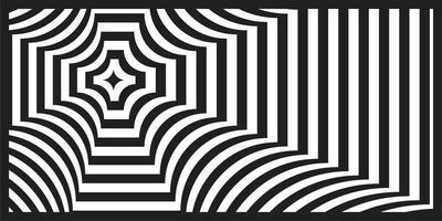 Black and white op art geometric perspective pattern vector