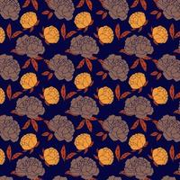 navy and orange rose pattern vector