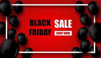 Black Friday Sale design with white frame and black balloons on red