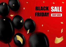 Black Friday Sale design with black balloons on red