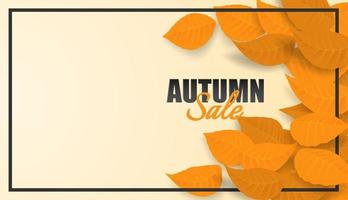 Autumn sale design with autumn leaves and black frame vector