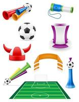 set of soccer football fan items and accessories vector illustration