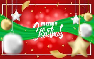 Merry Christmas design with green ribbon, gift balls, star and gold foil confetti
