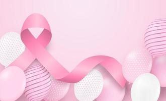Breast cancer awareness design with pink ribbon and balloons on soft pink background
