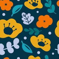 Abstract modern shapes floral pattern