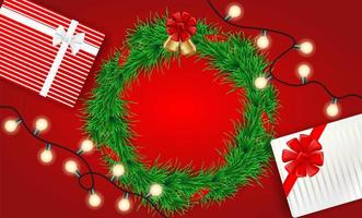 Christmas design with lights, wreath and gifts on red vector