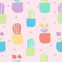 Lindo patrón de cactus y flores con color pastel