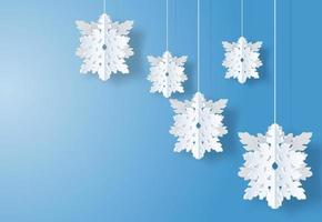 Christmas design with paper art style white snowflakes