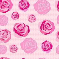 Pink rose hand drawn pattern vector