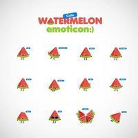 Söt vattenmelonemoticonuppsättning, vektorillustration