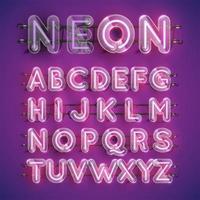 Conjunto de caracteres de neón púrpura realista con caja de plástico alrededor, ilustración vectorial