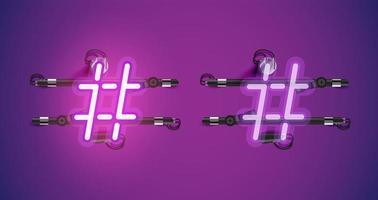Realistisch gloeiend paars neon charcter aan en uit