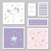 Cute cards with unicorn and gold glitter stars. vector