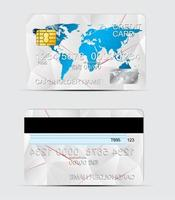 Polygon texture realistic credit cards templates vector