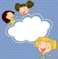 A stationery with three playful young girls vector