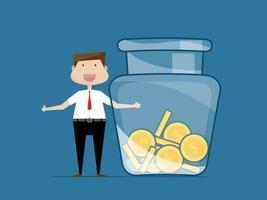 businessman with jar of money