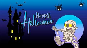 mummy happy halloween blue background
