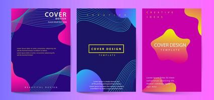 Gradient fluid shapes abstract covers set