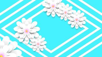 Decorative paper flowers with diamond borders vector