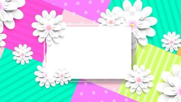 Colorful paper flowers wallpaper with text box vector