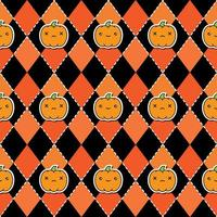 Seamless halloween pattern with pumpkins on argyle black and orange background.