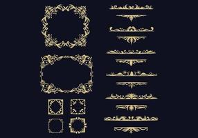 golden ornament collection vector