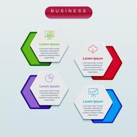 Business infographics hexagon template vector