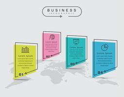 Infografica elementi piatti linea sottile