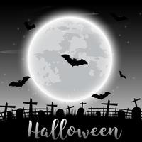 Halloween text and dark castle and bats on moon background