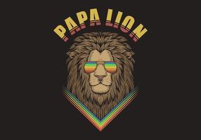 papa lion wearing rainbow sunglasses illustration vector