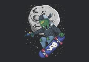 alien skateboarden in ruimte illustratie