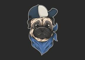 Pug dog wearing hat and bandana illustration