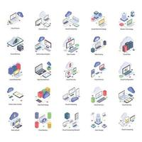 Cloud Technology Icons Pack vector