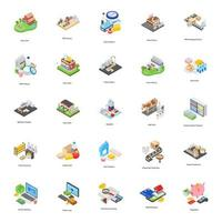 Dairy Farm Isometric Vectors