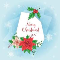 Cute christmas card with poinsettia