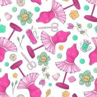 Seamless pattern of mannequin sewing accessories