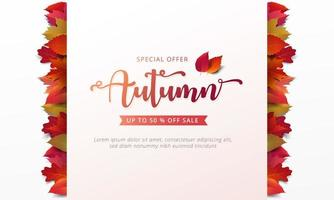 Autumn sale banner leaf frame