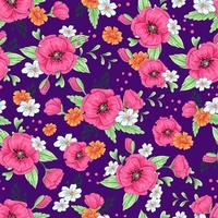 Pink  poppies and daisies seamless pattern