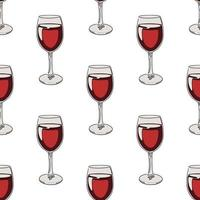 Seamless pattern background with glasses of red wine.