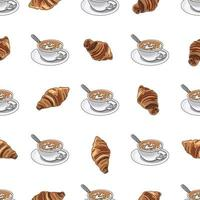 Seamless pattern cup of coffee or cappuccino with croissants.