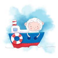 Mouton de dessin animé mignon sur un bateau