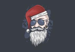 Man with santa hat and sunglasses illustration