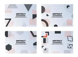 Set of abstract red and black retro geometric shape backgrounds