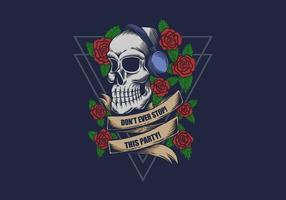 skull wearing headphones with roses illustration