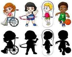 Set of kids in color and silhouette vector