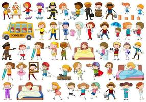 Diverse children set on white background