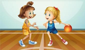 Two young ladies playing basketball vector