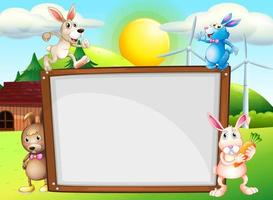 Modelo de papel com coelhos no fundo